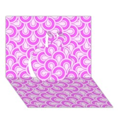 Retro Mirror Pattern Pink Apple 3D Greeting Card (7x5)