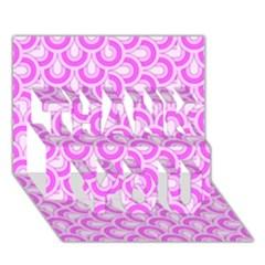 Retro Mirror Pattern Pink Thank You 3d Greeting Card (7x5)