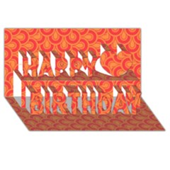 Retro Mirror Pattern Red Happy Birthday 3d Greeting Card (8x4)  by ImpressiveMoments