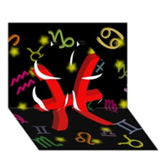 Pisces Floating Zodiac Sign Clover 3d Greeting Card (7x5)  by theimagezone