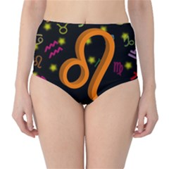 Leo Floating Zodiac Sign High Waist Bikini Bottoms by theimagezone