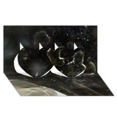 Space Like No 6 Twin Hearts 3d Greeting Card (8x4)