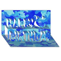 Camouflage Blue Happy Birthday 3d Greeting Card (8x4)