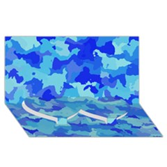 Camouflage Blue Twin Heart Bottom 3d Greeting Card (8x4)