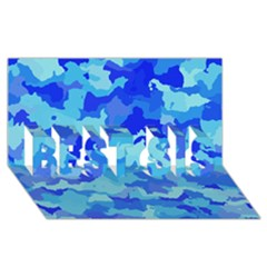 Camouflage Blue Best Sis 3d Greeting Card (8x4)  by MoreColorsinLife