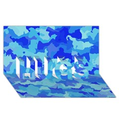 Camouflage Blue Hugs 3d Greeting Card (8x4)  by MoreColorsinLife