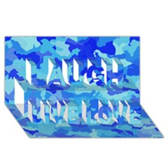 Camouflage Blue Laugh Live Love 3d Greeting Card (8x4)