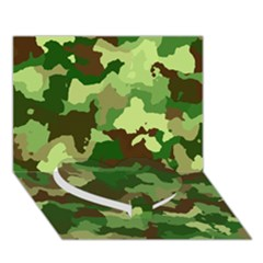 Camouflage Green Heart Bottom 3d Greeting Card (7x5)
