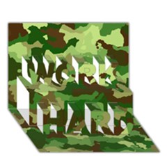 Camouflage Green Work Hard 3d Greeting Card (7x5)  by MoreColorsinLife