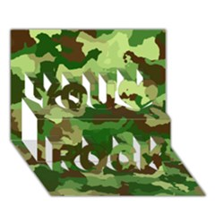 Camouflage Green You Rock 3d Greeting Card (7x5)
