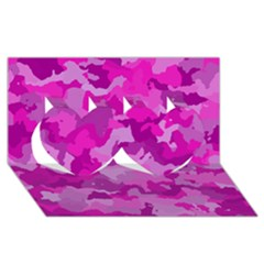 Camouflage Hot Pink Twin Hearts 3d Greeting Card (8x4)  by MoreColorsinLife