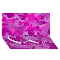 Camouflage Hot Pink Twin Heart Bottom 3d Greeting Card (8x4)