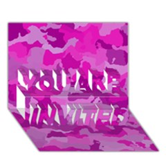 Camouflage Hot Pink You Are Invited 3d Greeting Card (7x5)  by MoreColorsinLife