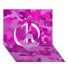Camouflage Hot Pink Peace Sign 3d Greeting Card (7x5)