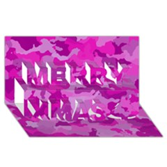 Camouflage Hot Pink Merry Xmas 3d Greeting Card (8x4)  by MoreColorsinLife