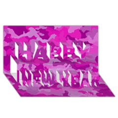 Camouflage Hot Pink Happy New Year 3d Greeting Card (8x4)  by MoreColorsinLife