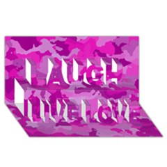 Camouflage Hot Pink Laugh Live Love 3d Greeting Card (8x4)  by MoreColorsinLife
