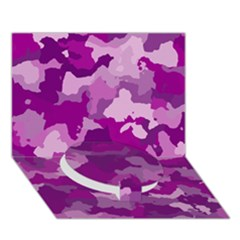 Camouflage Purple Circle Bottom 3d Greeting Card (7x5)  by MoreColorsinLife