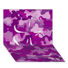 Camouflage Purple Clover 3d Greeting Card (7x5)  by MoreColorsinLife