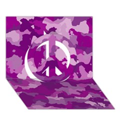 Camouflage Purple Peace Sign 3d Greeting Card (7x5)