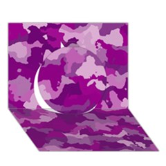 Camouflage Purple Circle 3d Greeting Card (7x5)