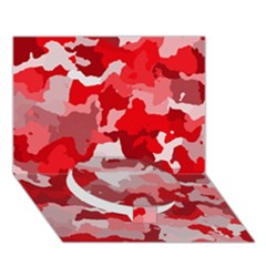 Camouflage Red Circle Bottom 3d Greeting Card (7x5)