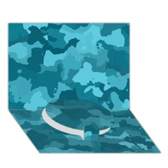 Camouflage Teal Circle Bottom 3d Greeting Card (7x5)