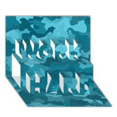 Camouflage Teal WORK HARD 3D Greeting Card (7x5)