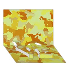 Camouflage Yellow Love Bottom 3d Greeting Card (7x5)