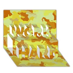 Camouflage Yellow Work Hard 3d Greeting Card (7x5)