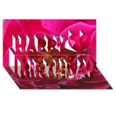 Red Rose Happy Birthday 3d Greeting Card (8x4)