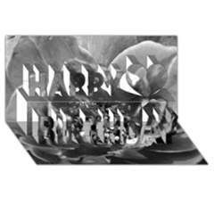 Black And White Rose Happy Birthday 3d Greeting Card (8x4)  by timelessartoncanvas