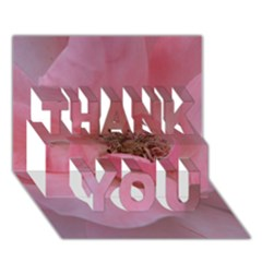Pink Rose Thank You 3d Greeting Card (7x5)