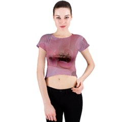 Pink Rose Crew Neck Crop Top