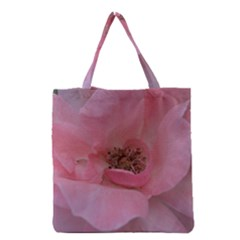 Pink Rose Grocery Tote Bags by timelessartoncanvas