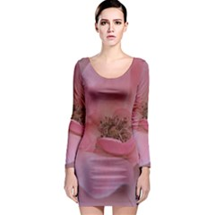 Pink Rose Long Sleeve Bodycon Dresses