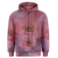 Pink Rose Men s Zipper Hoodies