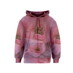 Pink Rose Kids Zipper Hoodies