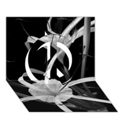 Exotic Black And White Flowers Peace Sign 3d Greeting Card (7x5)