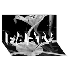 Exotic Black And White Flowers Party 3d Greeting Card (8x4)