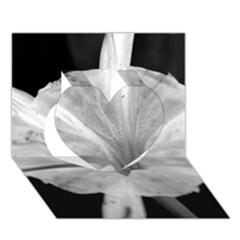 Exotic Black And White Flower 2 Heart 3d Greeting Card (7x5)