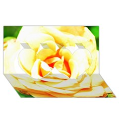 Orange Yellow Rose Twin Hearts 3d Greeting Card (8x4)  by timelessartoncanvas