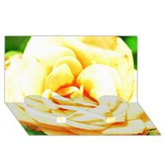 Orange Yellow Rose Twin Heart Bottom 3D Greeting Card (8x4)