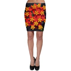 Orange And Red Weed Bodycon Skirts by timelessartoncanvas