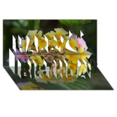 Colorful Flowers Happy Birthday 3d Greeting Card (8x4)  by timelessartoncanvas