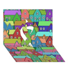 House 001 Ribbon 3d Greeting Card (7x5)  by JAMFoto