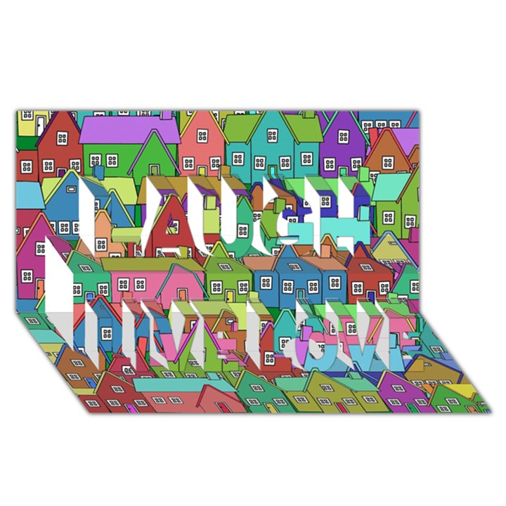 House 001 Laugh Live Love 3D Greeting Card (8x4)