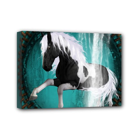 Beautiful Horse With Water Splash  Mini Canvas 7  X 5  by FantasyWorld7