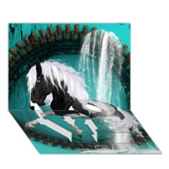 Beautiful Horse With Water Splash  Love Bottom 3d Greeting Card (7x5)