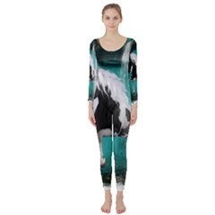 Beautiful Horse With Water Splash  Long Sleeve Catsuit